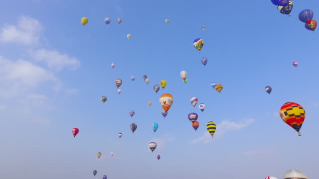 Many hot air balloons in blue sky video