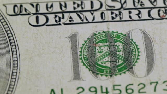 Many Hundred dollar bills close up video