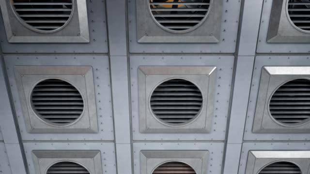 många industriella fans ventilationsaggregat under rotation. inomhus eller utomhus kyla eller värme processen. 60 fps sömlösa animation. - ventilation bildbanksvideor och videomaterial från bakom kulisserna
