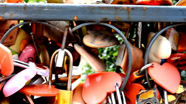 Many Love locks on the wall in Bangkok - a symbol of eternal love, friendship and romance. Thailand video