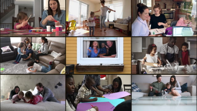 Many multi ethnic families portrait at home montage part of a series real families stay home stock videos & royalty-free footage