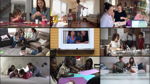 vídeos y material grabado en eventos de stock de muchas familias multiétnicas se retraen en el montaje en casa - stay home