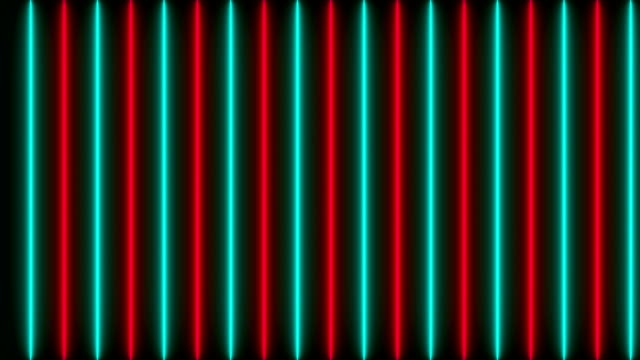 Many neon lighting lines on black, abstract computer generated backdrop, 3D render video