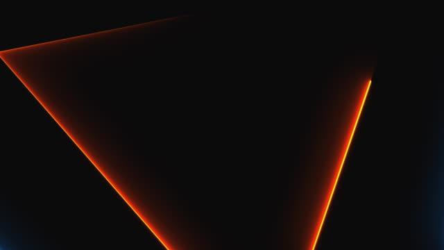 uzayda birçok neon üçgenler, soyut bilgisayar zemin oluşturulan, 3d render - kare i̇ki boyutlu şekil stok videoları ve detay görüntü çekimi