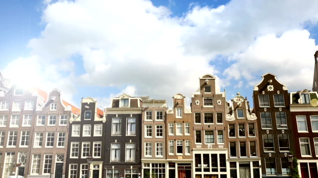 Many old houses in Amsterdam, time lapse video