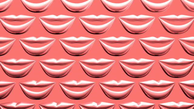 Many Pink Kissing Lips On Pink Background video
