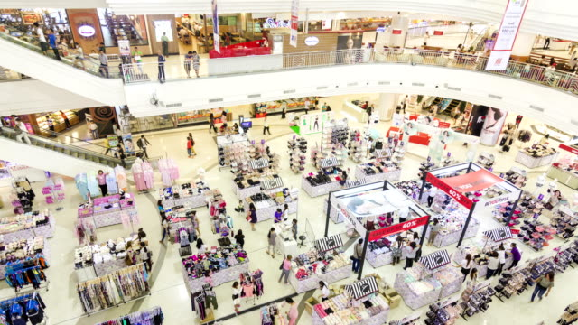 Many poeple in shopping mall,High angle view Time lapse of many poeple in shopping mall,High angle view department store stock videos & royalty-free footage