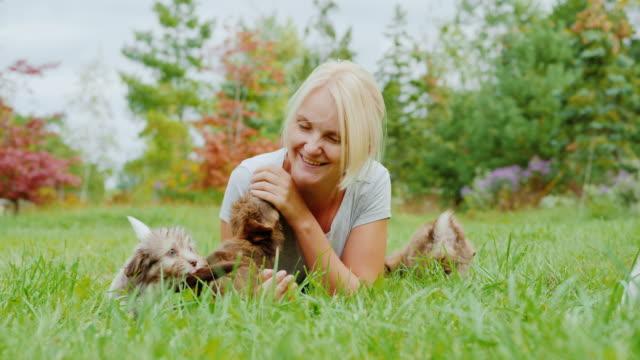Many puppies play around women video