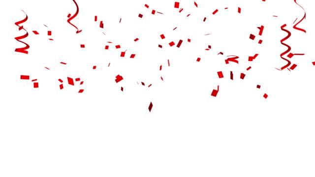 pek çok kırmızı konfeti ve şerit kutlama olay için beyaz arka plan ve parti yeni yıl, doğum günü partisi, noel veya herhangi bir tatil için. 3d soyut illüstrasyon - ribbon stok videoları ve detay görüntü çekimi