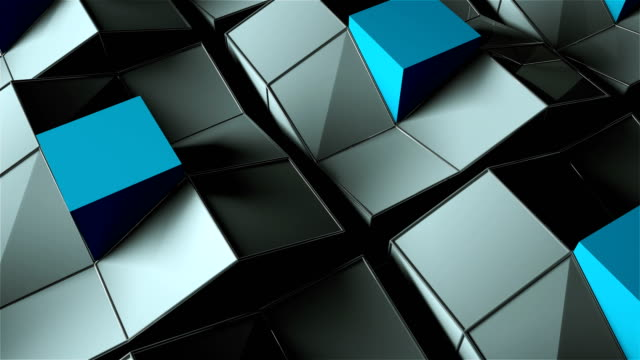 many rising and turning cubes with shadows, computer generated modern abstract background - a forma di blocco video stock e b–roll