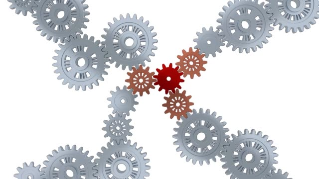 Many Silver Gears with One Red and Three Orange gears in Infinite Rotation