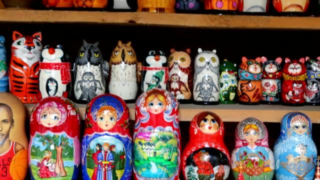 Many souvenir Russian wooden dolls video