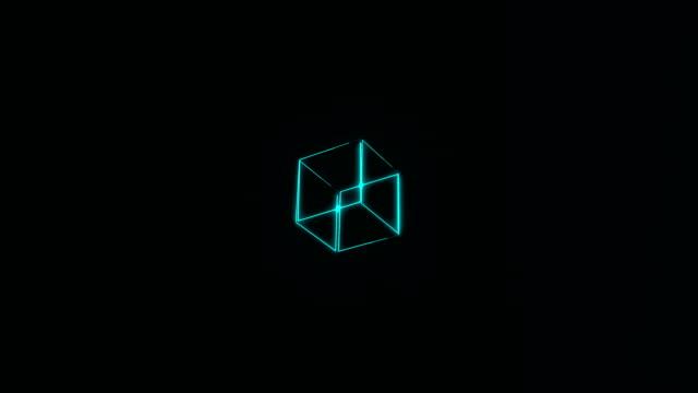 vidéos et rushes de grand nombre de cubes transparents néon rotation dans l'espace, fond de rendu 3d - cube