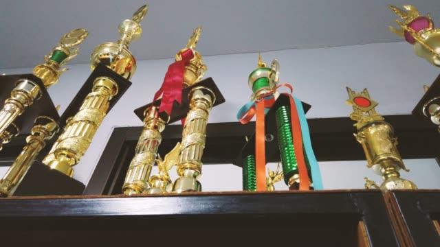 vídeos de stock, filmes e b-roll de muitos troféus na vitrine de madeira. comparável à recompensa da vida - troféu