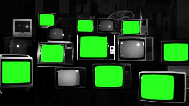 Many Tvs With Green Screens Black and White Tone Zoom In Aesthetics of the 80s Many Tvs With Green Screens. Black and White Tone. Zoom In. Aesthetics of the 80s. Ready to Replace Green Screens with Any Footage or Picture you Want. Full HD. hd format stock videos & royalty-free footage