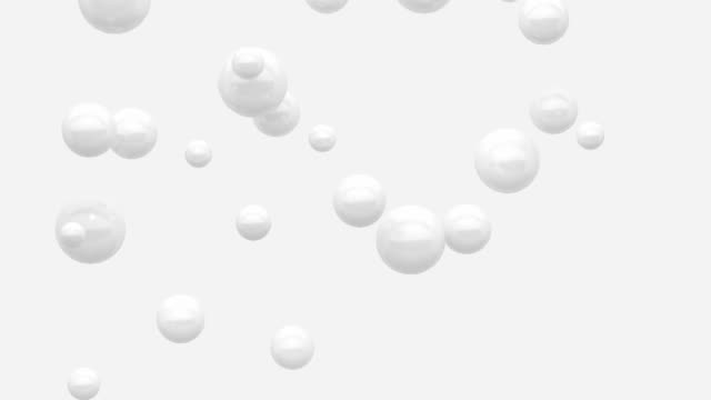 Video many white balls/sphere levitation white background minimal motion 3d rendering