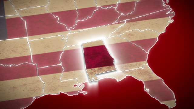 USA map, Alabama pull out, all states available. Red video