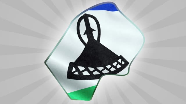 Map and flag of Lesotho Seamless Looping