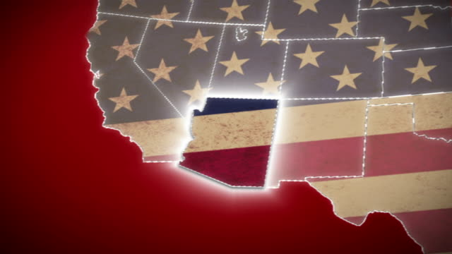USA map, Arizona pull out, all states available. Red video