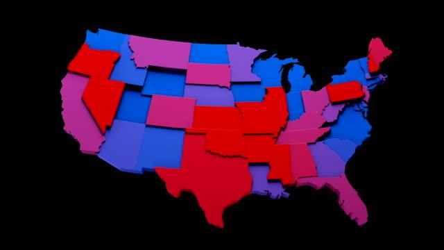 usa map - blue and red states loop - mapa filmów i materiałów b-roll