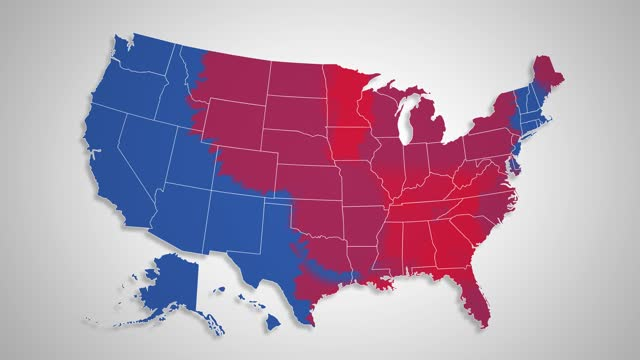 USA Map - Blue States Changing to Red States video