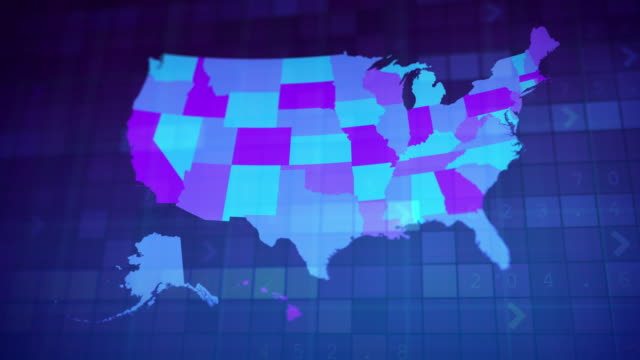 USA map by states (1 of 8) AL, AK, AZ, AR, CA, CO, CT. Loopable. video