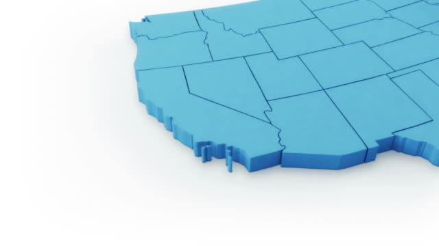 USA map by states. West and East sides. Blue version. video