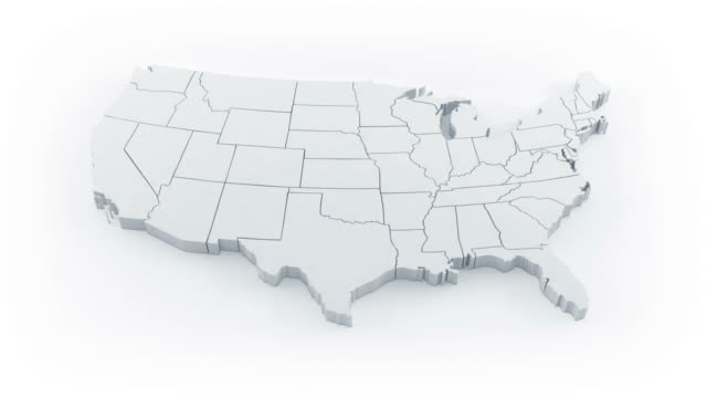 USA map by states. White version. video