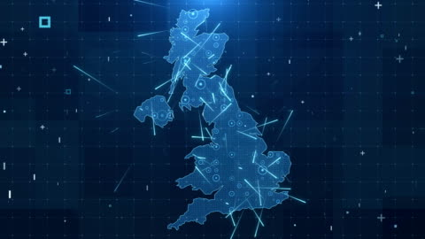 UK Map Connections full details Background 4K Global Connections, Business, Internet, Country, United Kingdom cartography stock videos & royalty-free footage