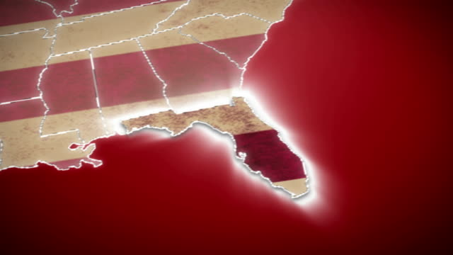 USA map, Florida pull out, all states available. Red USA Map, Florida pull out. No signs or letters so you can insert own graphics, fonts, etc. All 50 states available in blue background and red background. For elections, documentaries, news. florida us state stock videos & royalty-free footage