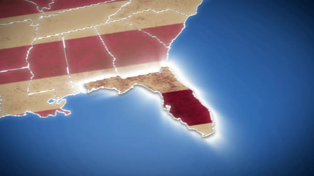 USA map, Florida pull out, all states available video