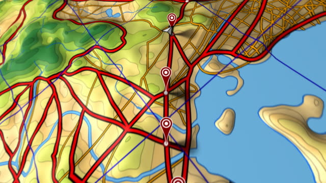 Map flyover, following arrow along route marked by GPS waypoints. video