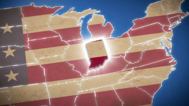 USA map, Indiana pull out, all states available video