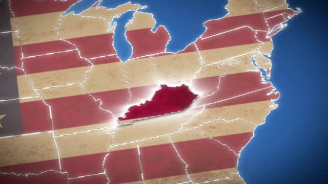 USA map, Kentucky pull out, all states available video