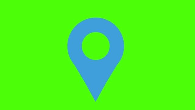 map marker green screen loop blue