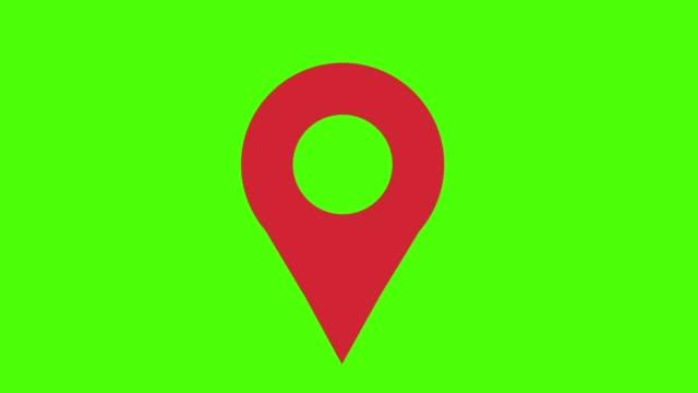vidéos et rushes de carte boucle d'écran vert marqueur rouge - épingle
