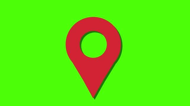 map marker green screen shadow loop red