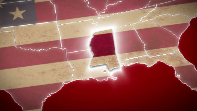 USA map, Mississippi pull out, all states available. Red video