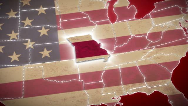 usa map, миссури вытягивания, все государства.  красный - missouri стоковые видео и кадры b-roll