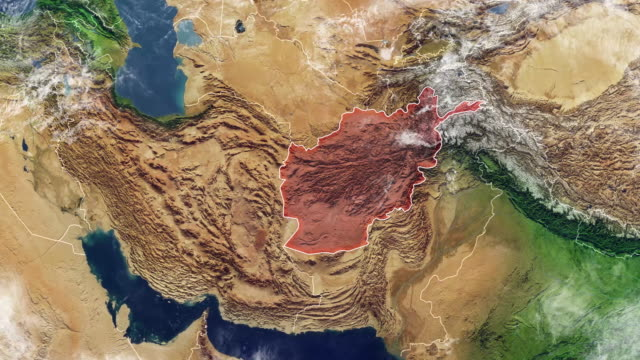 Map of Afghanistan and borders, physical map Middle East, Arabian peninsula, map with reliefs and mountains video