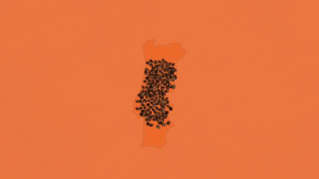 Map of Austria created from coffee beans on a orange background