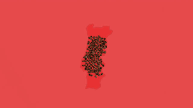 Map of Austria created from coffee beans on a red background