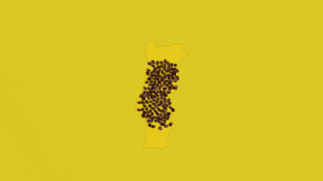 Map of Austria created from coffee beans on a yelow background