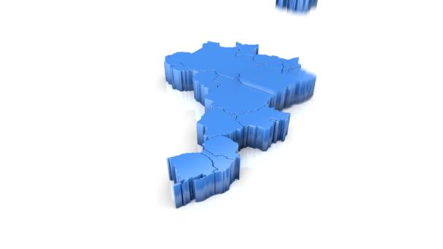vídeos de stock, filmes e b-roll de mapa do brasil azul. formado por estados individuais caindo de cima para baixo em branco. - brazil map