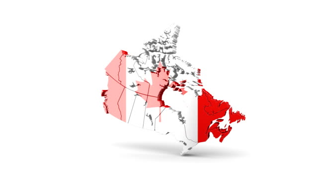 Map of Canada with flag. A quick rotation appears on a white background.