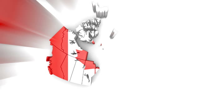 Video Map of Canada with flag, top view. Formed by individual states falling from top to bottom on white.