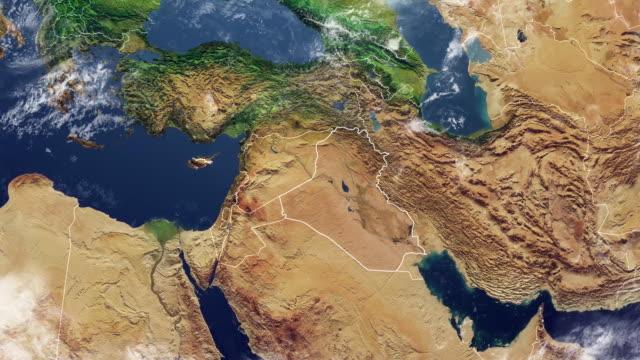vídeos de stock, filmes e b-roll de mapa da iraque e fronteiras, mapa físico oriente médio, península arábica, mapa com relevos e montanhas - relevo