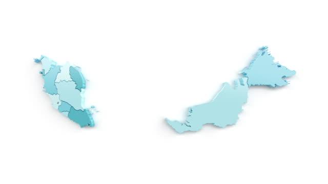 青緑色のマレーシアの地図、トップビュー。 - マレーシア点の映像素材/bロール