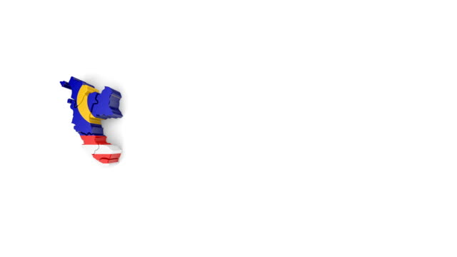 Map of Malaysia with flag, top view. Formed by individual states falling from top to bottom on white background. Map of Malaysia with flag, top view. Formed by individual states falling from top to bottom on white background. Animation with alpha channel johor bahru stock videos & royalty-free footage