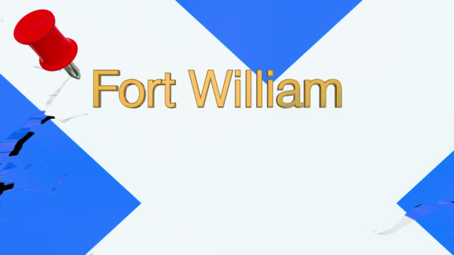 map of scotland with alpha channel and 3d map pin highlighting the location of fort william - fort william video stock e b–roll